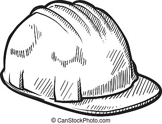 Hardhat safety helmet vector - Doodle style construction...