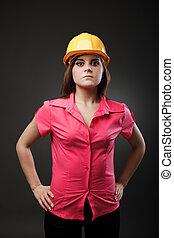 hardhat, senhora, jovem, engenheiro
