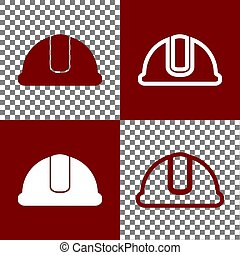 Hardhat sign. Vector. Bordo and white icons and line icons on chess board with transparent background.