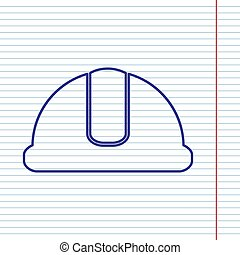 Hardhat sign. Vector. Navy line icon on notebook paper as background with red line for field.