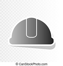 Hardhat sign. Vector. New year blackish icon on transparent background with transition.