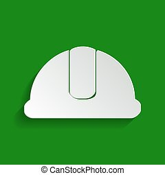 Hardhat sign. Vector. Paper whitish icon with soft shadow on green background.