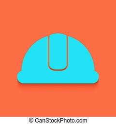 Hardhat sign. Vector. Whitish icon on brick wall as background.