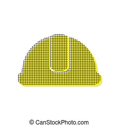 Hardhat sign. Vector. Yellow icon with square pattern duplicate