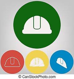 hardhat, signo., vector., 4, blanco, estilos, de, icono, en, 4, coloreado, círculos, en, gris ligero, fondo.