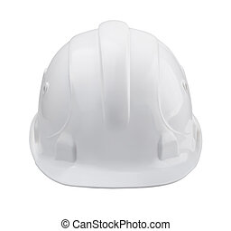Hardhat - White hard hat - front view isolated on white