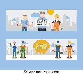 hardhats, conjunto, house., cubo, herramientas, pala, perfecto, trabajadores, taladro, juego herramientas, azulejos, escalera, asimiento, edificio, illustration., trabajadores, hammer., vector, banderas, constructores, o, ingenieros