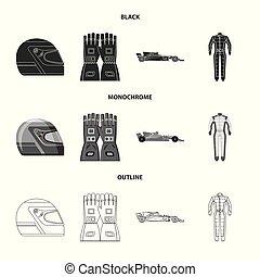 hardloop, set, stock., auto, illustratie, vector, verzameling, logo., pictogram