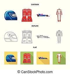 hardloop, set, stock., auto, symbool., vector, ontwerp, verzameling, pictogram