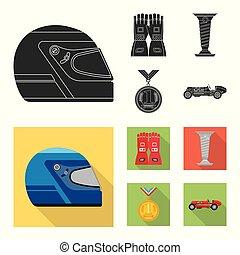hardloop, stock., auto, illustratie, vector, verzameling, verzameling, logo., pictogram