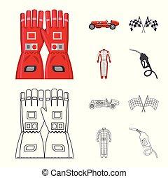 hardloop, stock., auto, voorwerp, symbool., verzameling, vrijstaand, vector, verzameling, pictogram