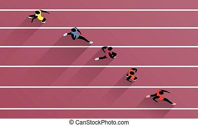 hardloop wedstrijd, akker, olympische spelen