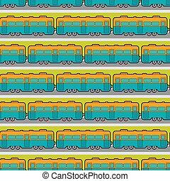 hardloop wedstrijd, auto, trein, ornament., pattern., seamless, illustratie, achtergrond., vector, spoorweg, spoorweg