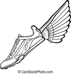 hardloop wedstrijd, illustr, vector, schoen, vleugel