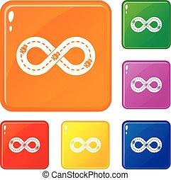 hardloop wedstrijd, kleur, set, vector, iconen