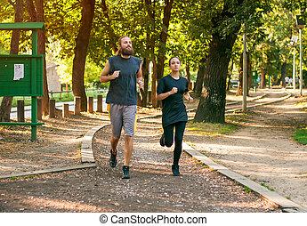 hardloop wedstrijd, paar, rennende , jonge, jogging, door, bos