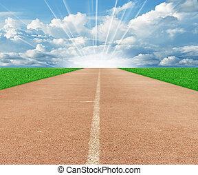 hardloop wedstrijd, rennende , hemel wolk