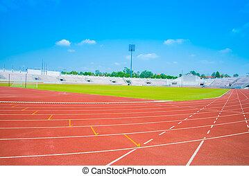 hardloop wedstrijd, rennende , stadion, sporten