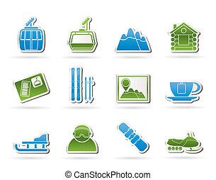 hardloop wedstrijd, sportende, ski, iconen
