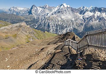 hardloop wedstrijd, wandelende, hoogte, hoog, zwitserland, bernese, boven, alpen, vallei, lauterbrunnen