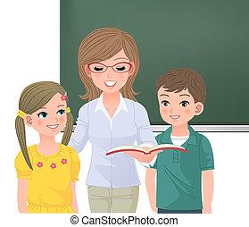 hardop, lezende , leraar, leerlingen