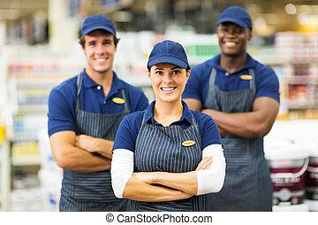 hardware, arbeider, winkel, vrouwlijk, team