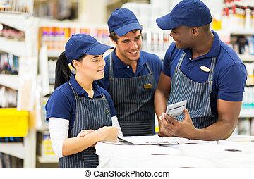 hardware, arbeiter, gruppe, kaufmannsladen