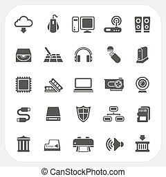 hardware, computadora, conjunto, iconos