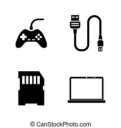 Hardware Computer Parts. Simple Related Vector Icons Set for...