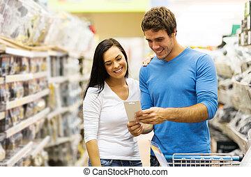 hardware, coppia, giovane, negozio