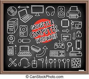 hardware, doodle, ícones computador
