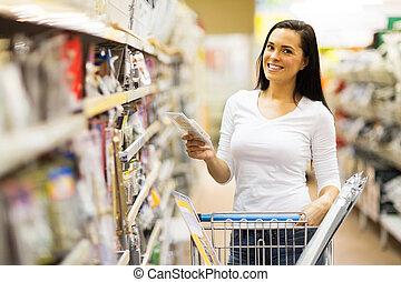 hardware, frau- einkaufen, junger, kaufmannsladen