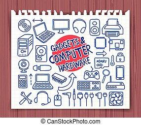 hardware, gekritzel, computerikon
