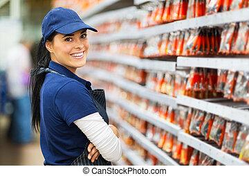 hardware, het glimlachen, arbeider, winkel