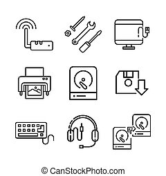 hardware icon set vector illustration design