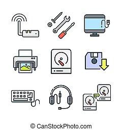 hardware, icono, conjunto, color