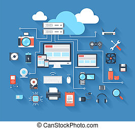 Hardware icons - Vector illustration of hardware and cloud...