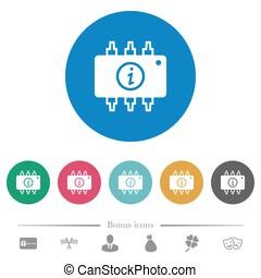 Hardware info flat round icons
