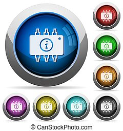 Hardware info round glossy buttons