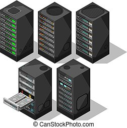 Hardware isometric equipment. 3d telecommunication server. Data center storage room objects. Computer database towers vector set