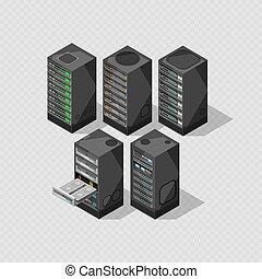 Hardware isometric equipment. 3d telecommunication server isolated on transparent background