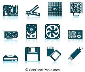 hardware, jogo, ícones computador