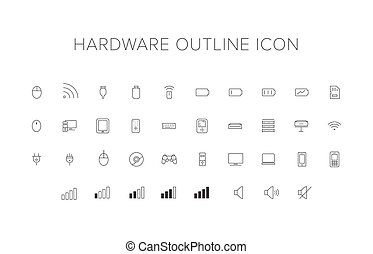 Hardware line icon set