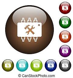 Hardware maintenance color glass buttons