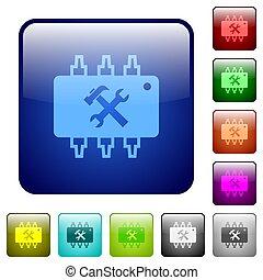 Hardware maintenance color square buttons