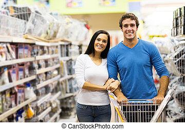 hardware, paar, shoppen, junger, kaufmannsladen