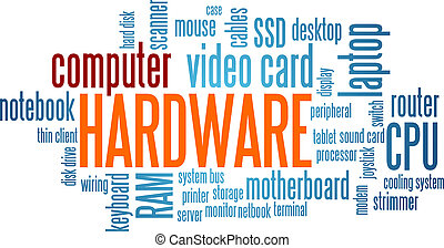 hardware, palabra, nube, burbuja, etiqueta, árbol