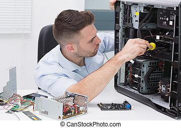 hardware, professionell, untersuchen, cpu, mit, stethoskop