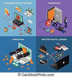hardware, proteção, ícones conceito, jogo