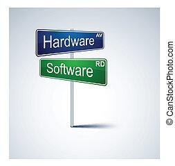 hardware, richting, teken., straat, software